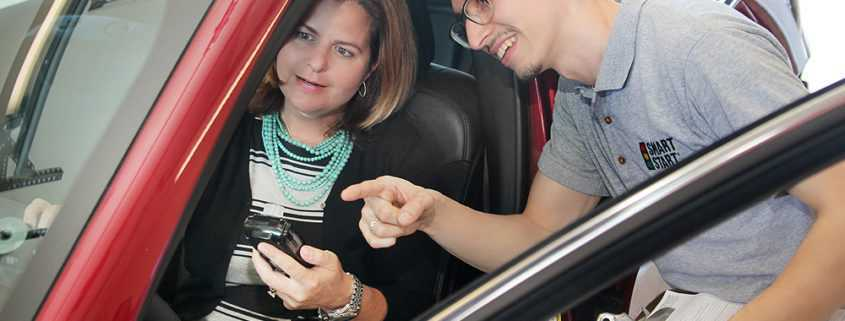 Smart Start Technician Training Customer To Use The Ignition Interlock Device