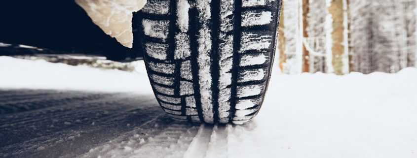 Tire rolling through the snow