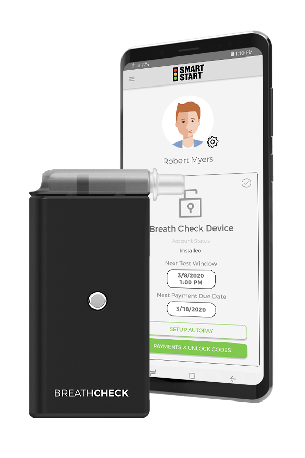 Photo of the BreathCheck™ Device with a Mobile Phone displaying the Client Portal Mobile App