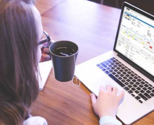 Woman using SmartWeb online software